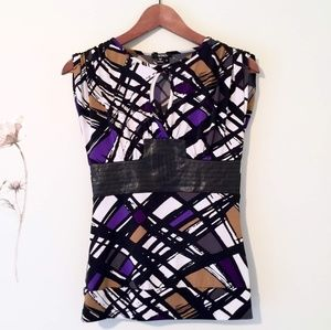 Edgy Top with Leather like Band Sz Small
